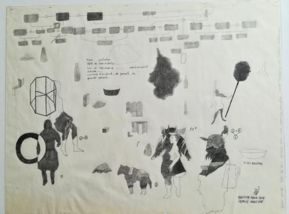 Partition pour une identité multiple mine graphite sur papier 20 x 25,5 cm