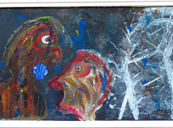 Les silences des hérissons au fond des bois Peinture acrylique 50x30 cm