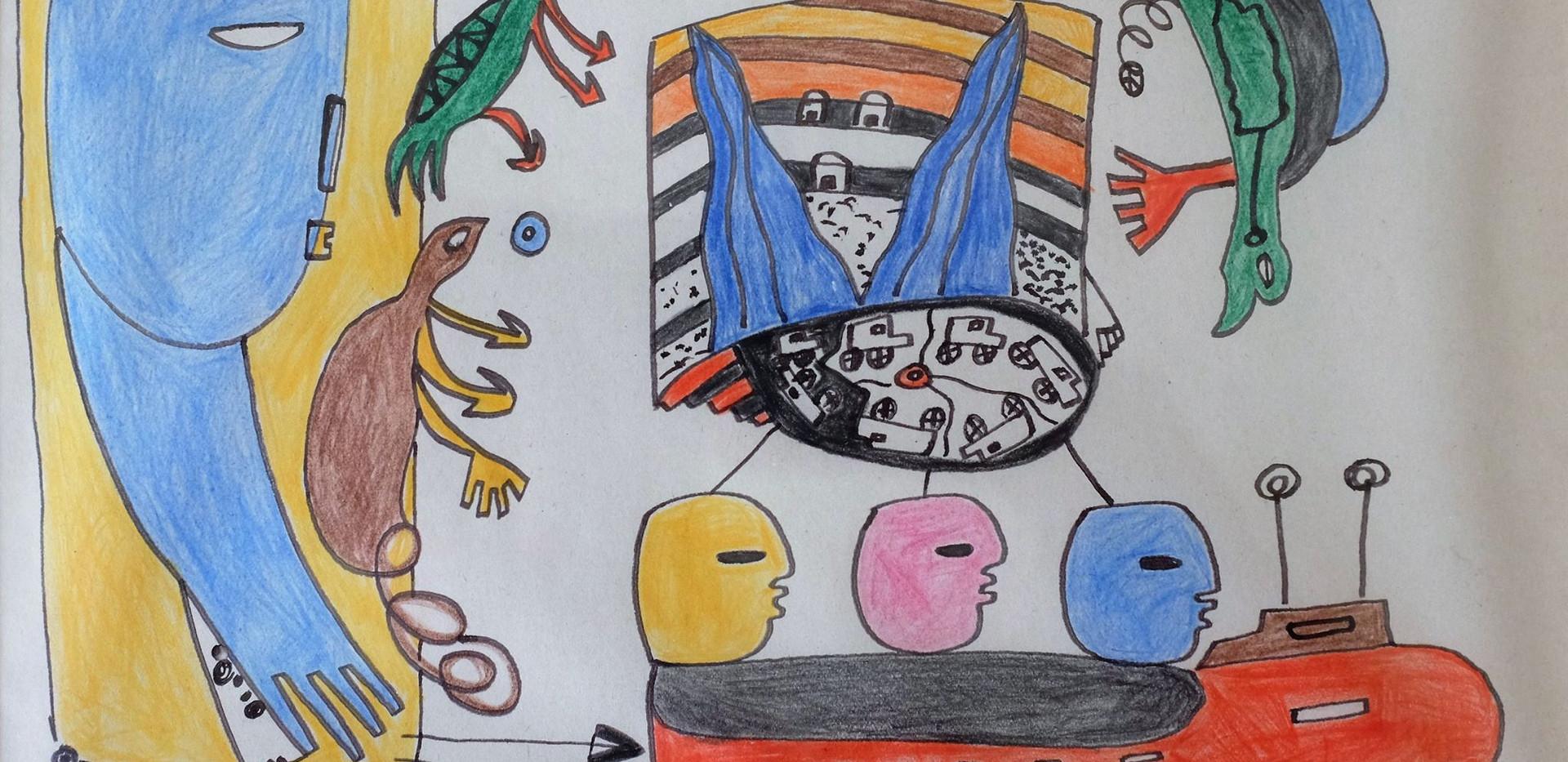 Sans titre | non daté Feutre et crayon de couleur sur papier