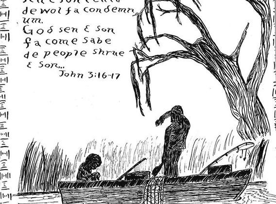 Fishermen, John 3:16   non daté encre sur papier