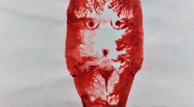 Uhel   Mort [traduction du mongol] encre rouge sur papier 32 x 24 cm