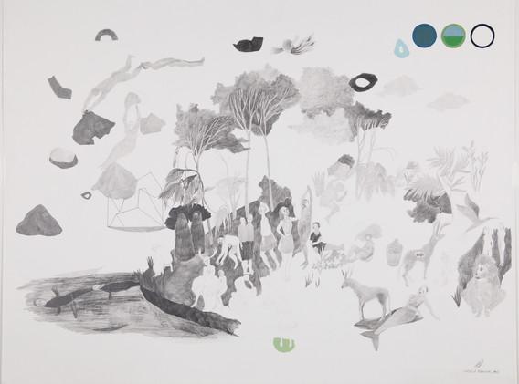 Limites à franchir, #3 Dessin à la mine graphite et gouache sur papier Lana 50x65 cm