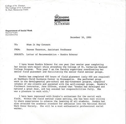 Sondra Letter of recommendatio from St C