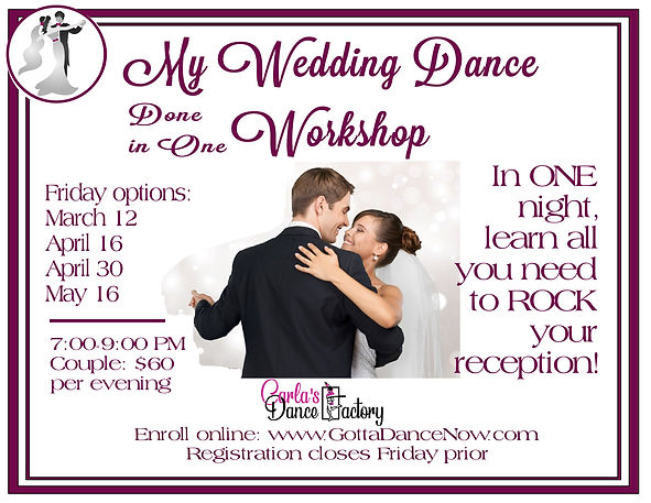 Wedding workshops for March April May 20