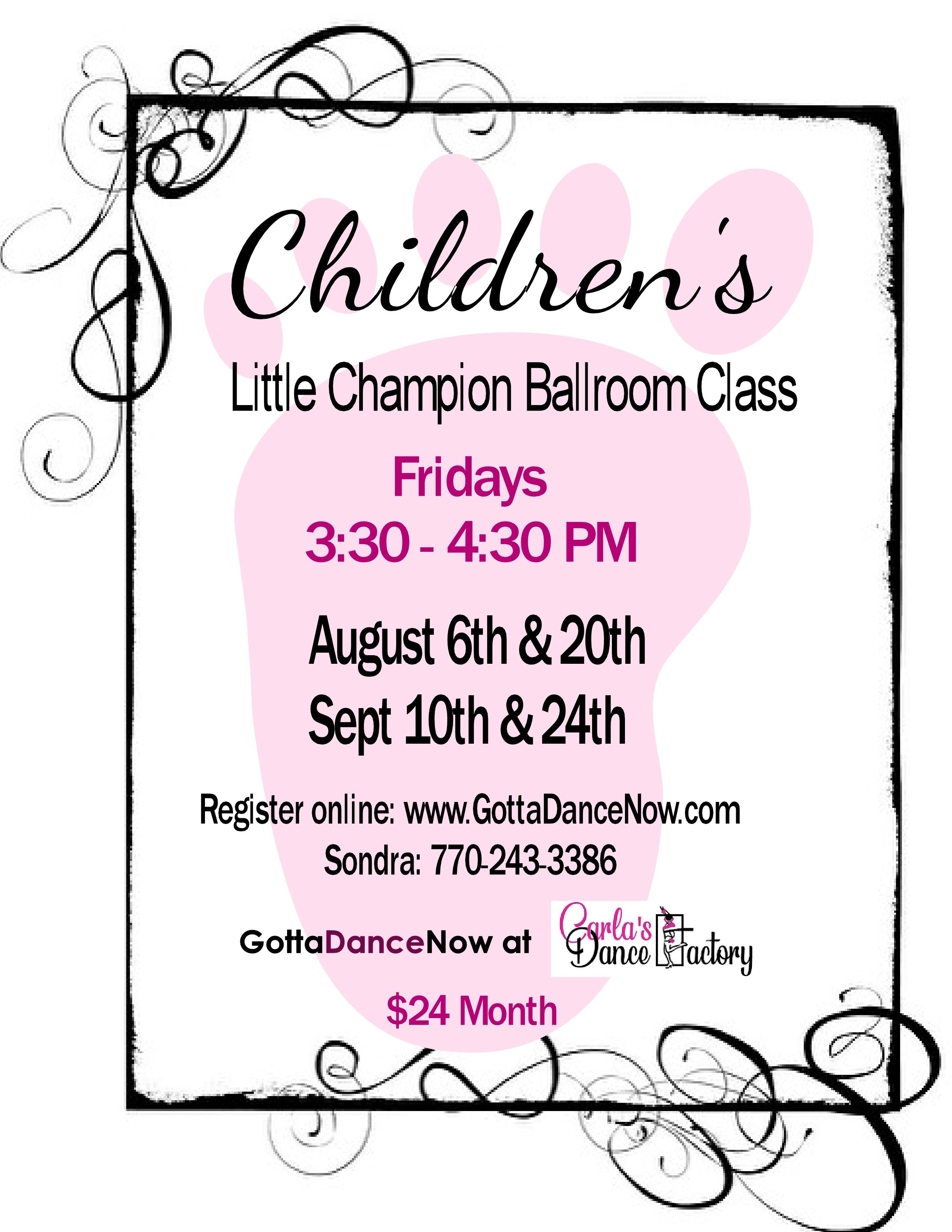Children Class- One Hour 2 days a month