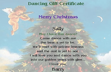 Gift cert with Christmas tree and angel.