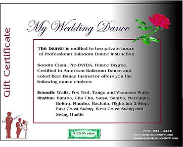 Wedding Dance Certificate for 2 hours.JP