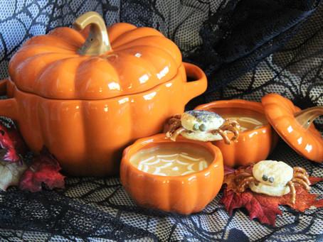 Spider Web Pumpkin Soup with Spider Bites