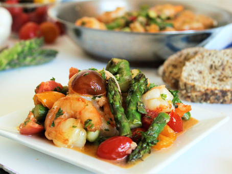 Garlic Butter Shrimp with Pan Roasted Asparagus and Tomatoes