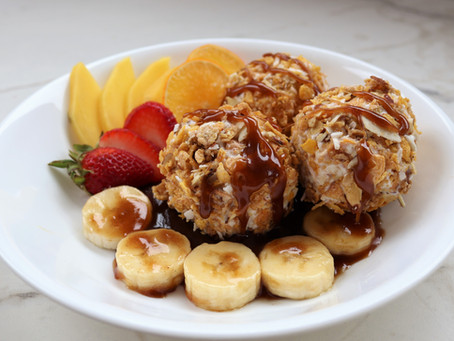 """""""Un-fried"""" Ice Cream Topped with Mexican Bananas Foster"""