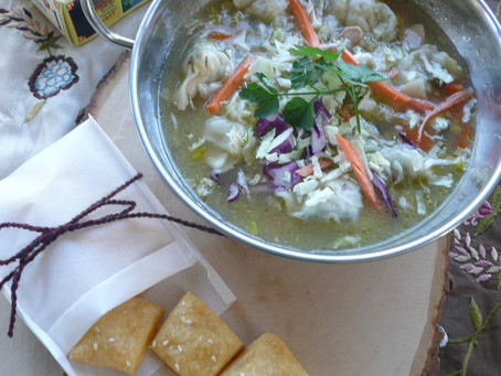Ginger and Lemongrass Soup with Buttery Cheese Crackers