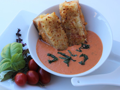 Creamy Tomato Soup with Fresh Basil and Toasted Cheese Dippers