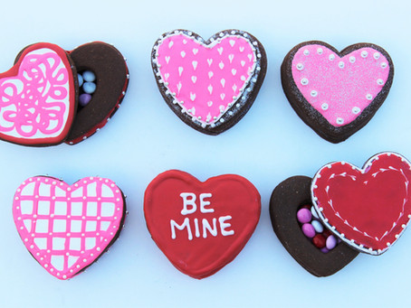 Chocolate Almond Cookie Boxes for Valentine's Day