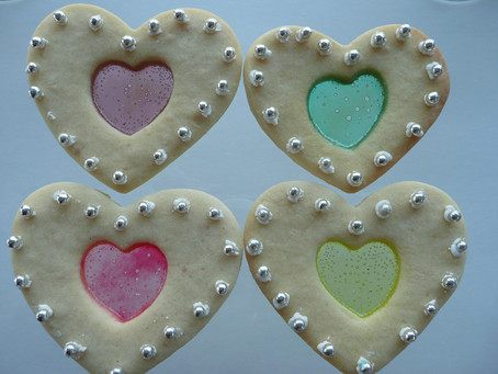 Stained Glass Window Cookies for Valentine's Day
