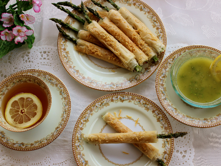Pastry Wrapped Asparagus With Fresh Lemon Butter Dipping Sauce