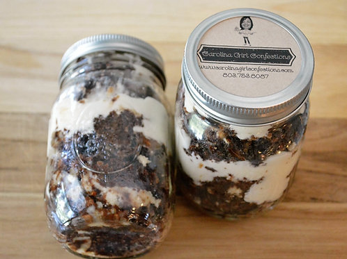 MASON JAR CAKES, GOOEY CHOCOLATE N CREAM CHEESE (Quantity of five)