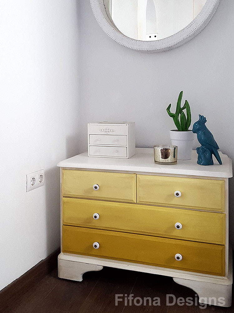 Yellow Ombré Chalk Paint Chest of Drawers After Makeover