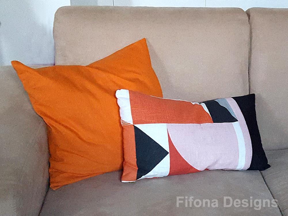 Orange, Black and White Geometric Fabric Cushion
