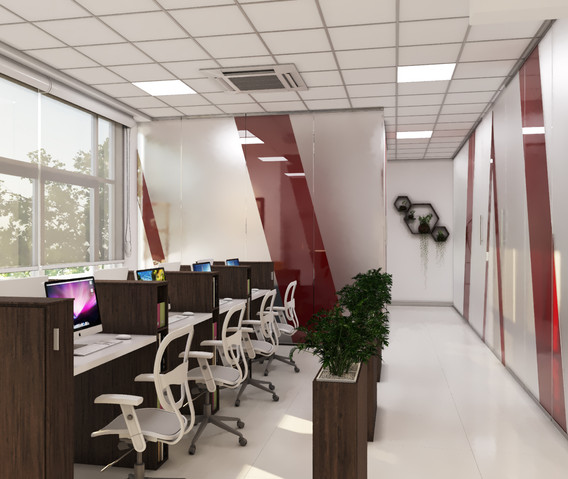 One sided view of open plan office