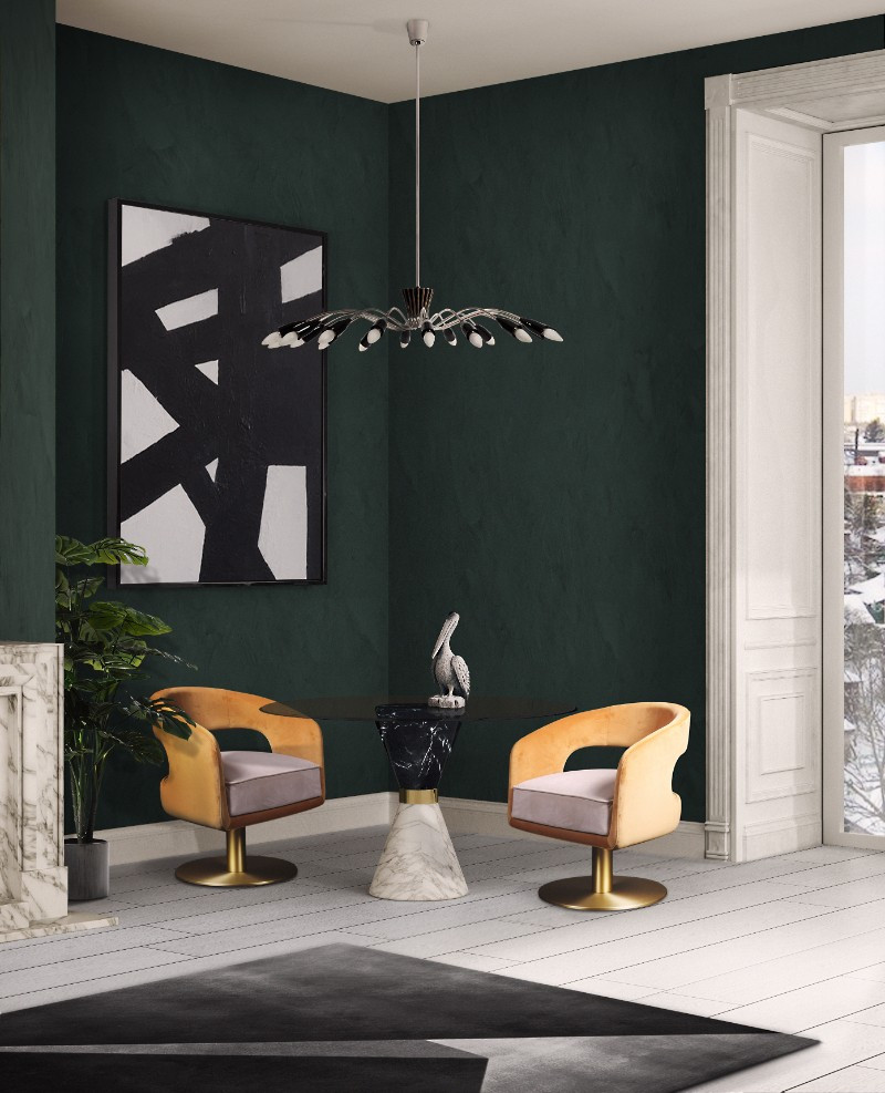 USA's Pantone Color Institute has released it's top 10 colours for 2017 design and fashion. Shown here is one of them - Shaded Spruce, which teams beautifully with the golden colour of these chairs.
