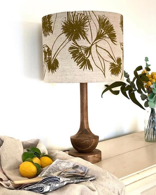 """Femke Textiles """"Gumnut Blossom in Olive Oil"""" lampshade"""