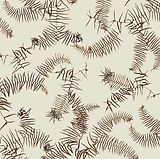 Coral Fern Bracken in Linen / Cotton