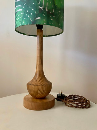"""Little Argyle"" Hand-Turned Waxed Timber Lamp Base (SML)"