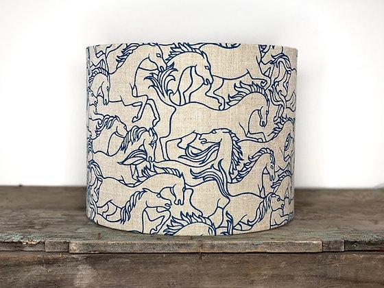 "Florence Broadhurst ""Horses Stampeding in Marine"" 35cmD x 28cmH Lampshade"