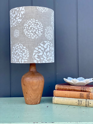 "Femke Textiles ""Snow Seed Circles"" 20cm Lampshade and Vintage Timber Lamp Base"