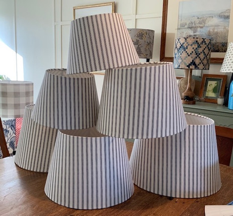 Empire Lampshades in Charcoal Ticking