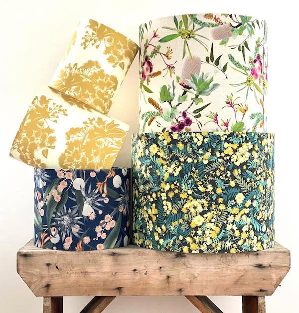 LightenUp Handmade lampshades featuring fabrics from 4 Leaf Clover and Louise Jones