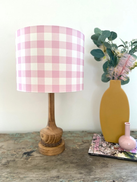 "Hydrangea Lane ""Dusty Pink Gingham"" Lampshade"