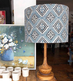 LightenUp Lampshades in Walter G Havana China Blue fabric with hand-turned timber base