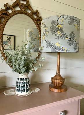 Utopia Goods Black Wattle in Grey fabric lampshade by LightenUp Handmade with turned timber lamp base