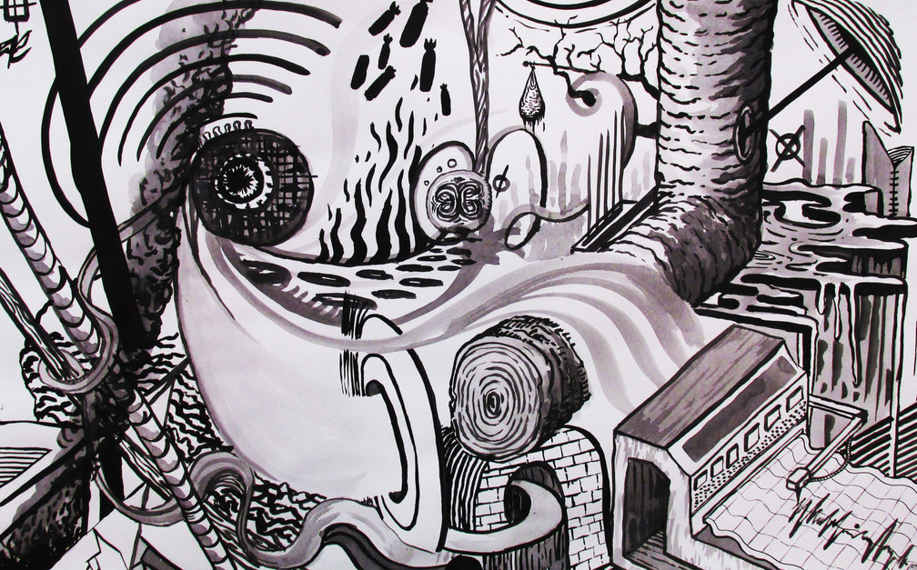 Capturing sound / Automatic ink drawing study