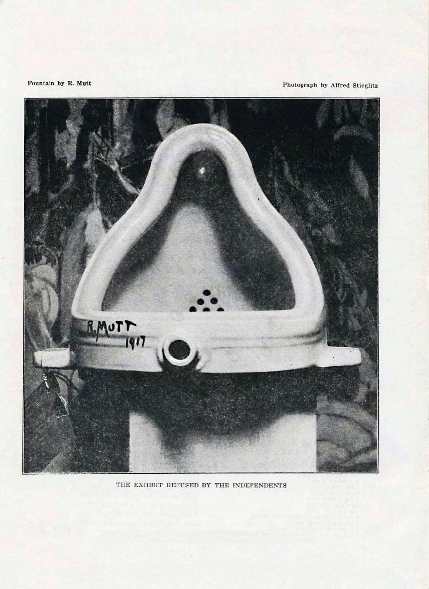 ferocious urbanites_Alfred Stieglitz photograph of Marcel Duchamp's Fountain, 1917. Image via Wikimedia Commons.