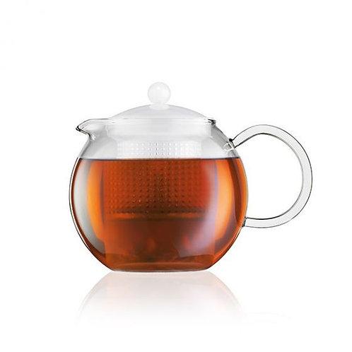ASSAM arbatinukas su nuspaudėju, 1l, stiklo rankenėlė, baltas