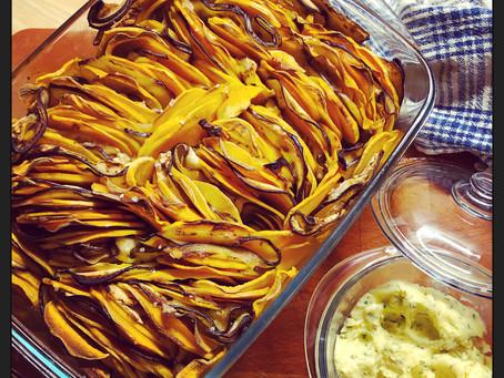 Saldžiųjų bulvių ir baklažanų apkepas