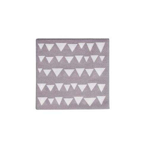 TRIKAMPIAI popierinės servetėlės, pilka/balta, 20vnt., 17x17cm