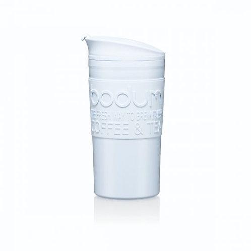 TRAVEL MUG termosinis puodelis, dvigubos plastiko sienelės, 0,35l, melsva