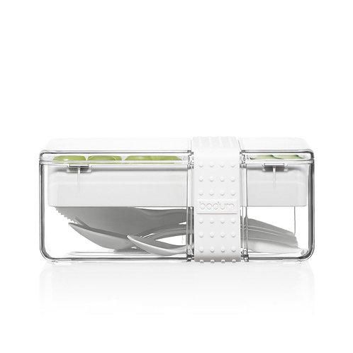 BISTRO pietų dėžutė su įrankiais, baltas silikonas