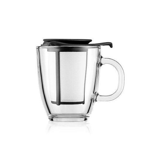 YO-YO stiklinis puodelis su plastikiniu filtru, 0,35 l, juodas