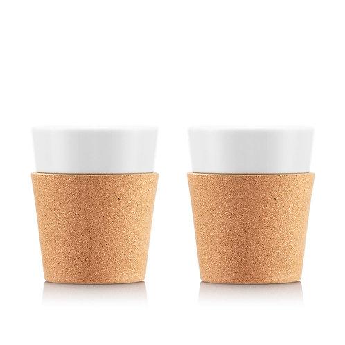 BISTRO puodelis, 0,3l, porcelianas, kamštinis medis, 2 vnt.
