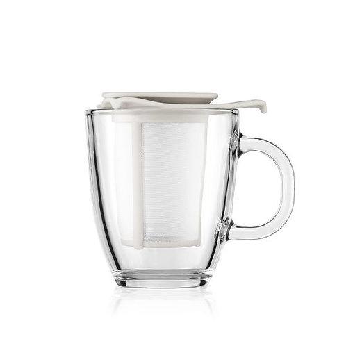 YO-YO stiklinis puodelis su plastikiniu filtru, 0,35 l, baltas