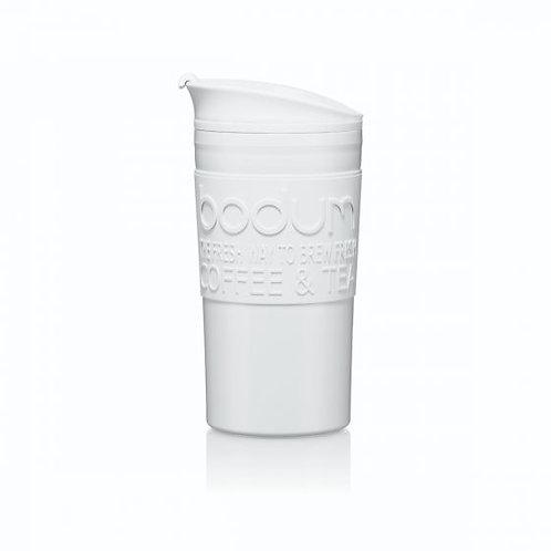 TRAVEL MUG termosinis puodelis, dvigubos plastiko sienelės, 0,35l, švelniai pilk