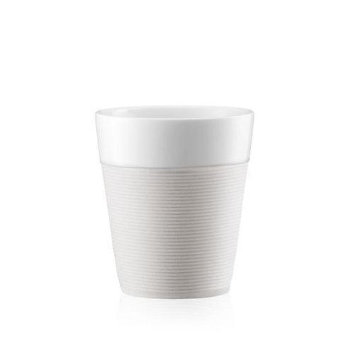 BISTRO puodelis 0,3l, 2vnt., porcelianas, baltas silikonas