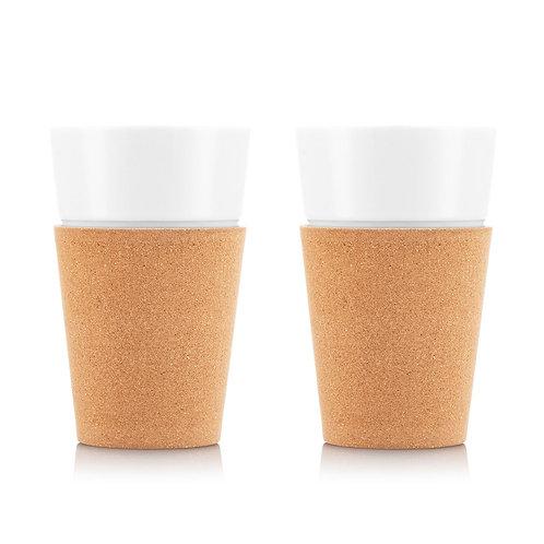 BISTRO puodelis, 0,6l, porcelianas, kamštinis medis, 2 vnt.