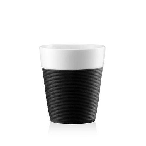 BISTRO puodelis, 0,17l, 2vnt., porcelianas, juodas silikonas