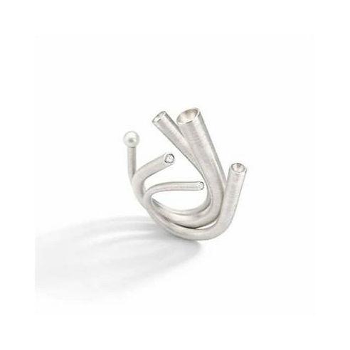 Anel Cavo_Trio de anéis em prata, pérola