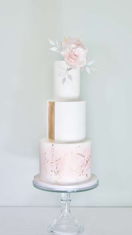 Gold Spatter and Stripe Wedding Cake